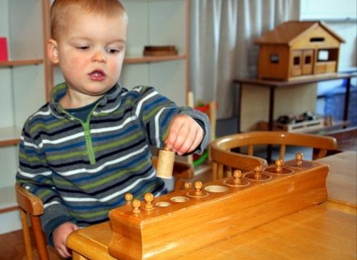 Toddler Montessori Class cyllinder block